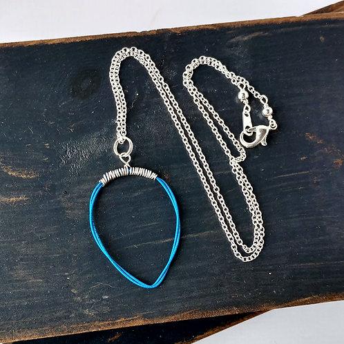 Blue Teardrop Guitar String Necklace