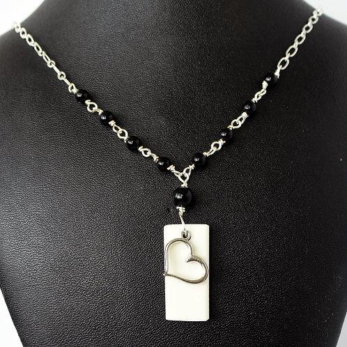 Piano Key & Heart Pendant on Onyx Beaded Chain