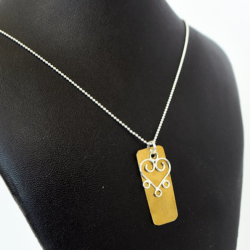 French Horn Bell Necklace with Heart Charm