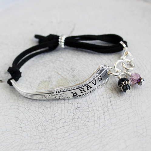 """Brave"" Stamped Spoon Handle Bracelet"