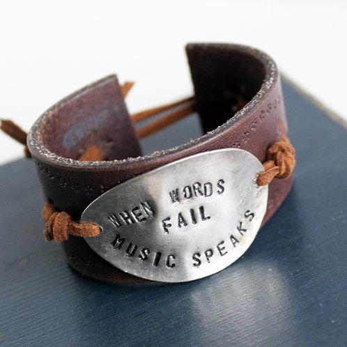 """When Words Fail, Music Speaks"" Stamped Spoon Cuff Bracelet"
