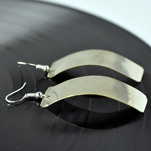 Throw Me A Curve - French Horn Metal Earrings