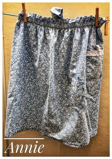 Pale blue floral print vintage apron