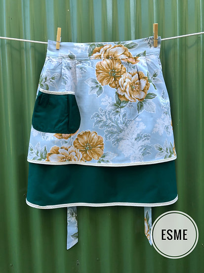 forest green and floral vintage apron