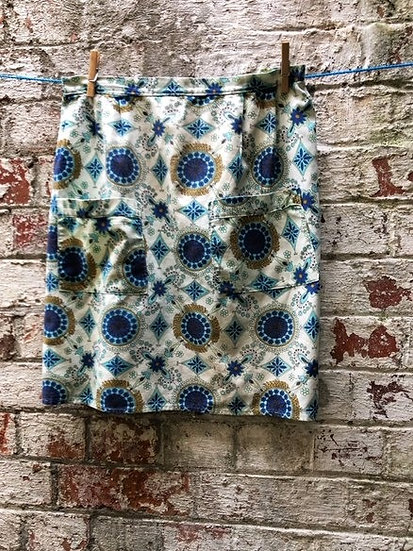 Paisley vintage apron with blue gold and cream tones