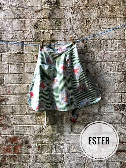 green striped vintage apron with sailing ship motifs