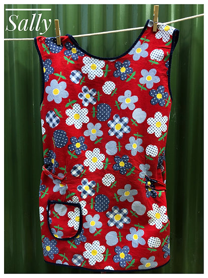 red and paisley floral retro apron