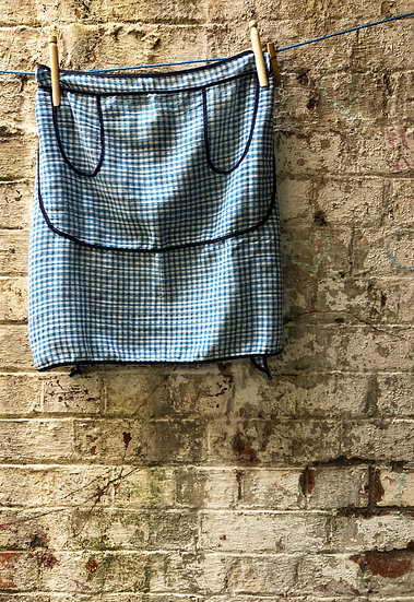 blue and white gingham vintage apron with navy trim