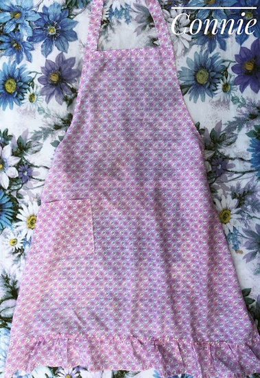 cotton pink apron with pretty print