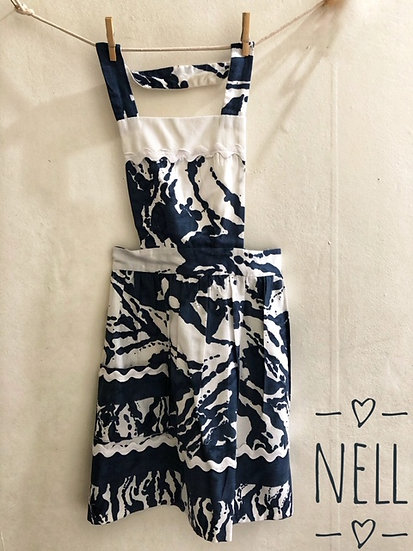 A striking navy and white vintage apron with full bib