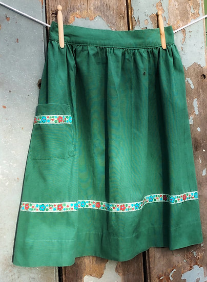 green vintage apron with trim