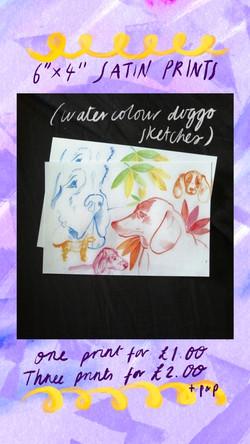 £1 Print - Watercolour Dogs