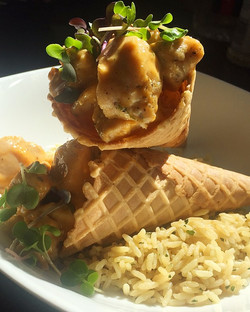 CHick and waffle cone