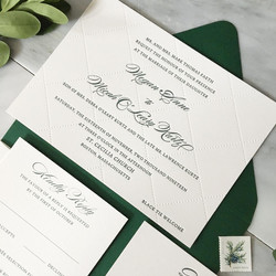 Blind letterpress wedding invitation