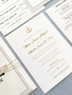 Anchor monogram wedding invitation