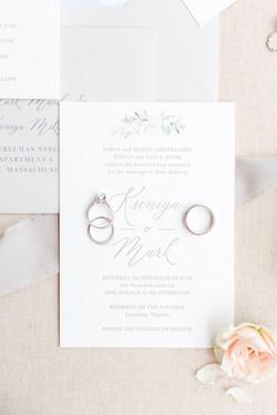 Letterpress floral invitation