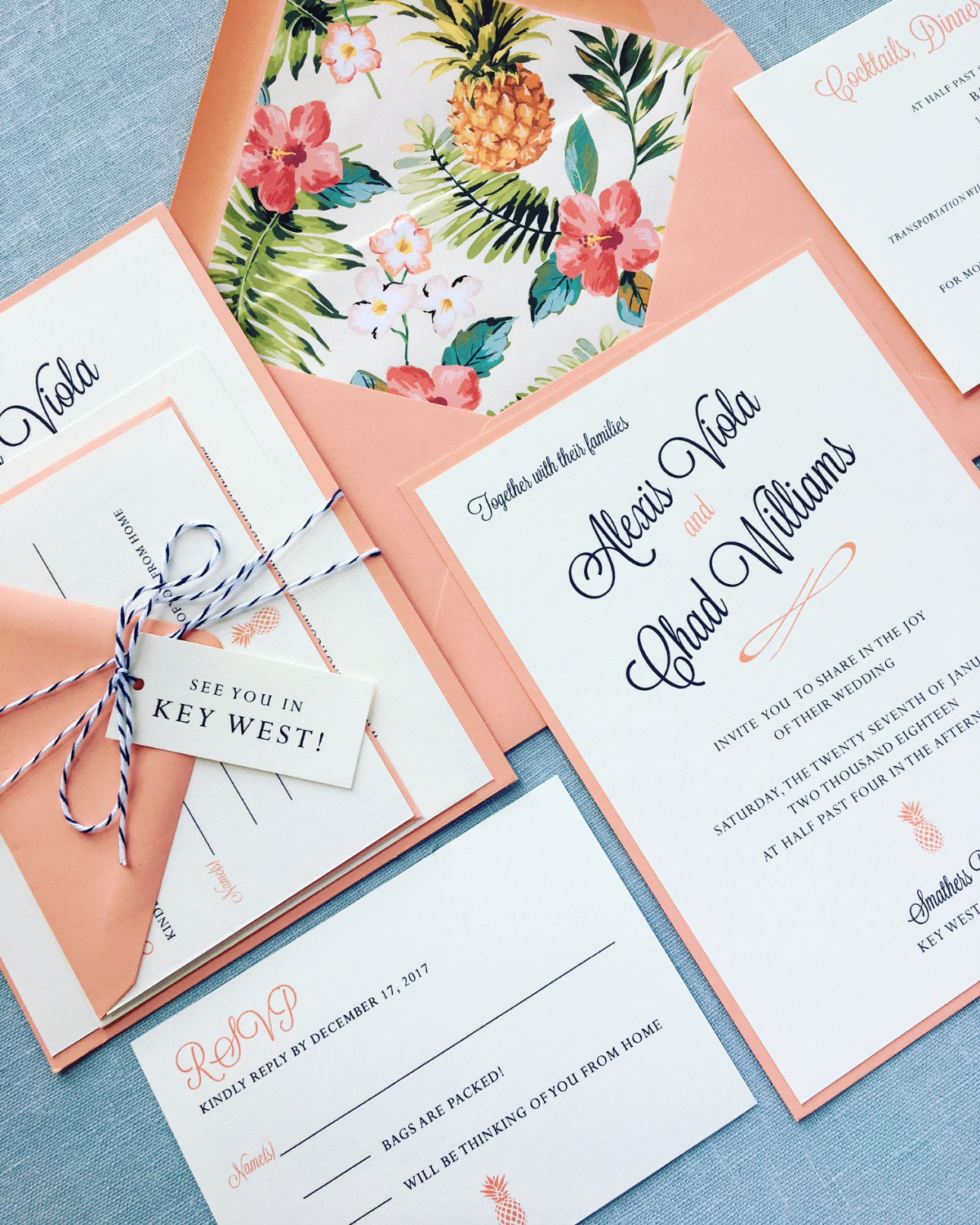 Tropical coral Wedding Invitation