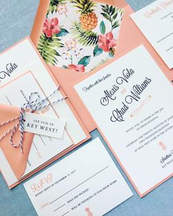 Tropical coral Wedding Invitation
