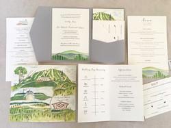Watercolor mt. wedding invitation