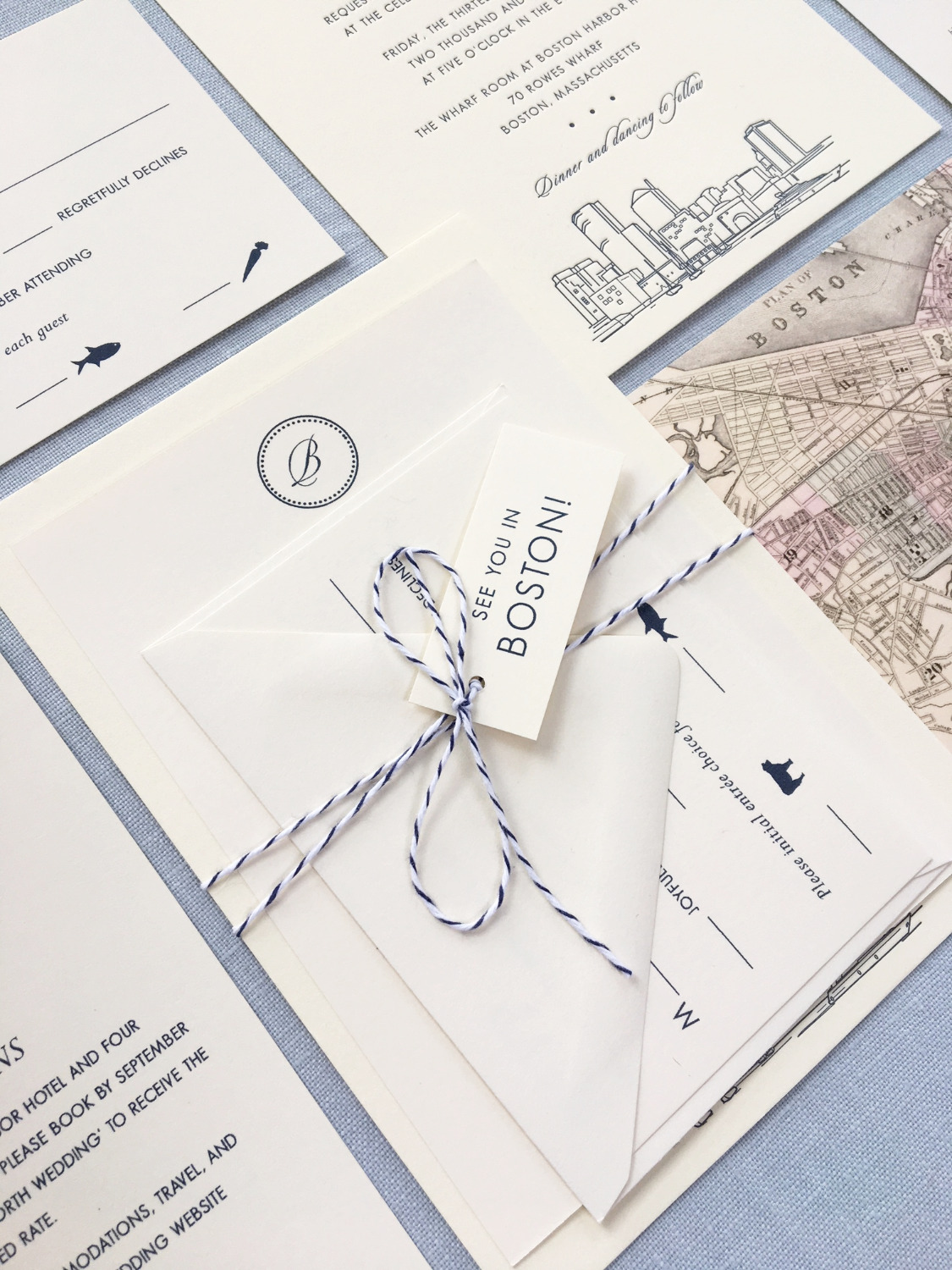 Boston Harbor Wedding Invitation