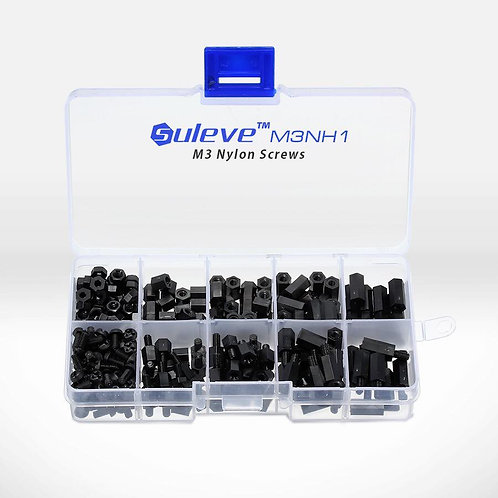 Suleve M3NH1 M3 Nylon Black Hex Screw Nut Spacer Stand-offs Assortment Kit