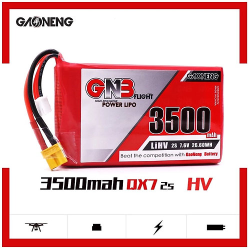 GNB GAONENG LiPo Battery 2S 3500mAh 7.6V HV for QX7 Transmitter