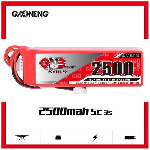 GNB GAONENG LiPo Battery 3S 2500MAH 11.1V 5C for FrSky Taranis X9D Transmitter