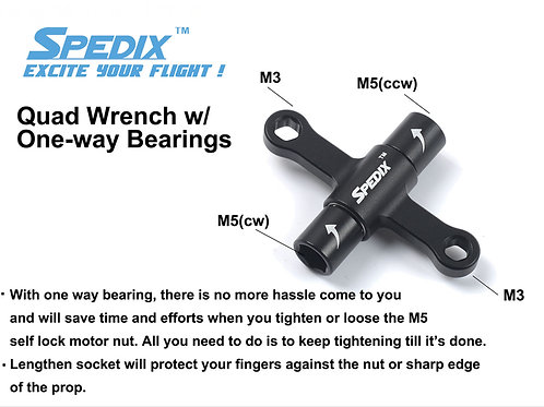 Spedix Quad Wrench w/ One-Way Bearings