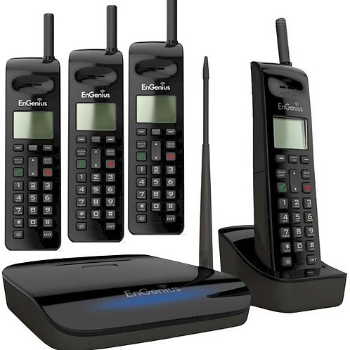 EngEnius FreeStyl 2 Long-Range Cordless Phone works with up to 9 handsets.