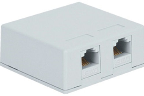 Surface-mount housing for two jacks. Two colors. FREE SHIP