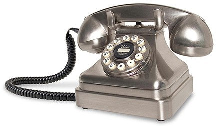 Kettle phone design comes from the 1930s. Choose chrome or black. FREE SHIP.