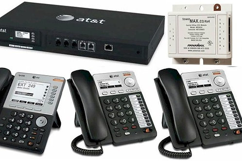 AT&T Syn248 starter system with three phones, phone line and AC surge protection