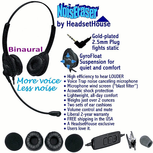 BN25 NOISERASER.  Hear with both ears & work with both hands! FREE SHIP