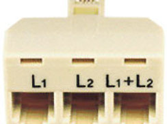 "Plugs into a 2-line (""RJ14"") jack and provides three separate jacks: one RJ14 fo"