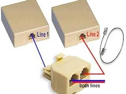 Two-line combiner kit makes one RJ14 jack from two RJ11 jacks. FREE SHIP