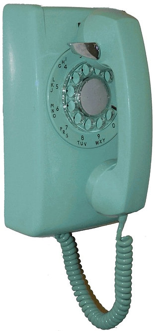 Rough and Ready rotary-dial hard-wired wall phone. Various colors. FREE SHIP
