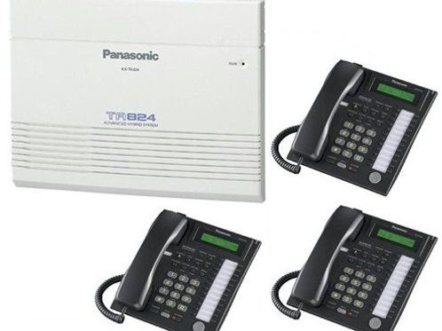 Panasonic KX-TA824 expandable package with 3 phones. Feature-rich. FREE SHIP.