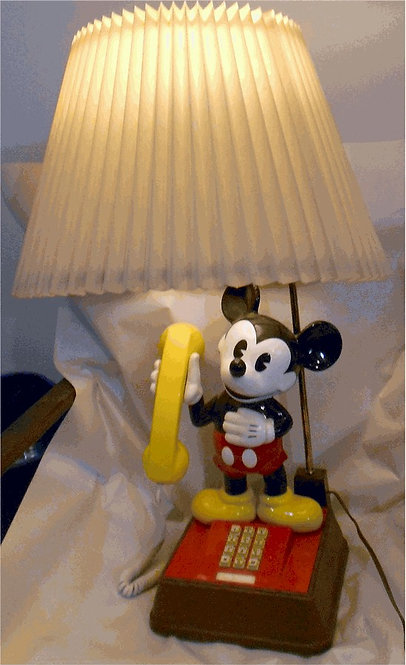 Mickey Mouse phone-lamp. Touch-tone. FREE SHIP.