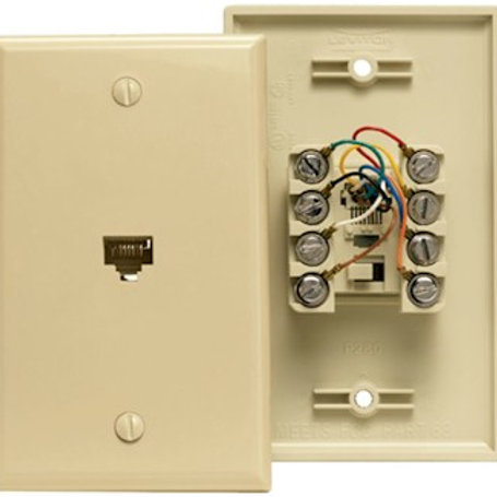Four-pair flush-mount phone jack, Cat 3. White or ivory color. FREE SHIP