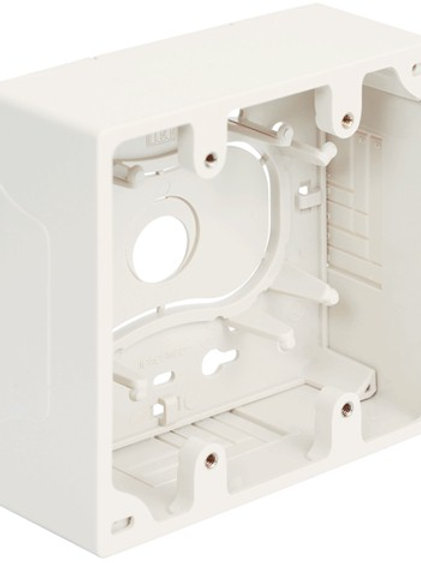 2-Gang surface-mount box for flush jacks and plates. 2 colors. FREE SHIP