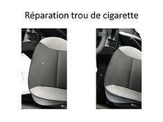 assise de voiture trou de cigarette reparation sur le finistere