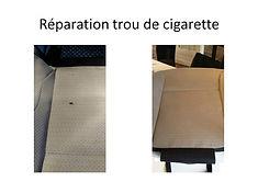 réparation trou de cigarette siège automobile brest