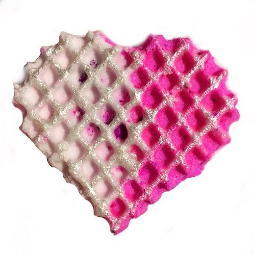 Raspberry Prosecco Mini Waffle Heart Bath Bubbler