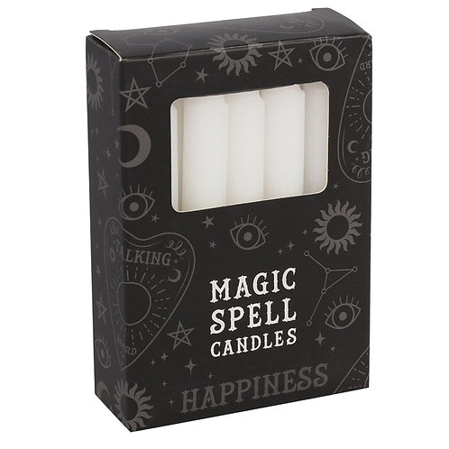 12 White 'HAPPINESS' Spell Candles