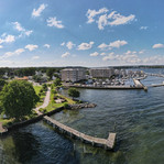Ariel View of Concord Point Lighthouse in Havre de Grace Maryland