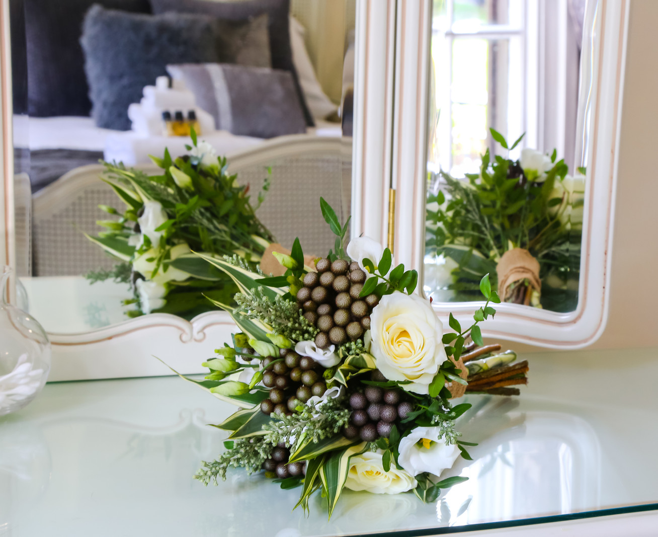 Bouquet on the dressing table
