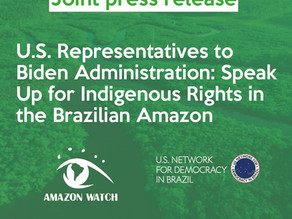 U.S. Representatives to Biden Administration: Speak Up for Indigenous Rights in the Brazilian Amazon