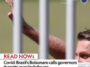 Covid: Brazil's Bolsonaro calls governors 'tyrants' over lockdowns