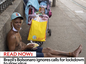 Brazil's Bolsonaro ignores calls for lockdown to slow virus