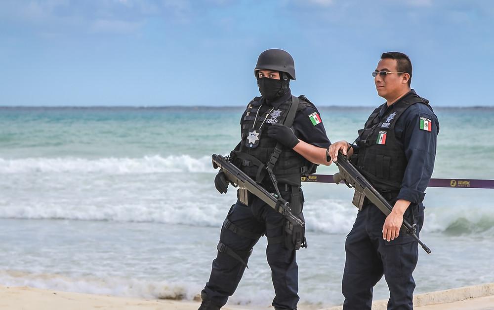 mexican police on beach